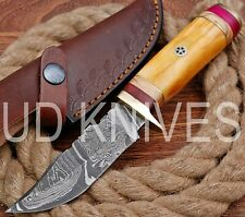UD HANDMADE FIXED BLADE DAMASCUS ART HUNTER SKINNER KNIF CAMEL BONE HANDLE 10609
