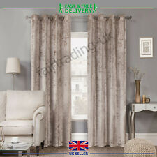 New Plush Crushed Velour Faux Velvet Pencil Pleat Eyelet Top Ring Pair Curtains