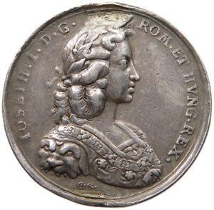 AUSTRIA SILVER MEDAL CORONATION JOSEPH I. 1690, HAUTSCH 35MM 16G #t133 407