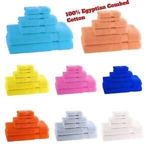 100% Egyptian Combed Cotton Soft 600 GSM Face Hand Bath Sheet Bathroom Towel Set