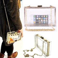 Women Cute Transparent Clear See Through Box Clutch Acrylic Cross Body Purse Bag