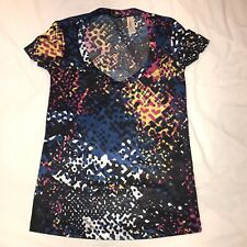MISS SIXTY Women's V-Neck Multi-Coloured Top - Size Small - Superb Condition