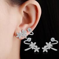 Women's Elegant 925 Sterling Silver Zircon Flowers Stud Cuff Earrings Jewelry