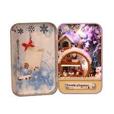 Kits Wood DIY house Miniature Handmade Box Secret Theater Idea Gift Snow Holiday