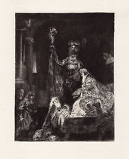 "1800's REMBRANDT B50 ""Presentation in the Temple"" Antique Etching FRAMED COA"