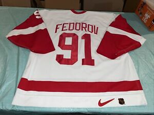 Adult 56 Pro Authentic On Ice Nike Sergei Fedorov Detroit Red Wings Jersey White