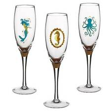 Grasslands Road Ocean Blue 6 Glass Champagne Flutes Mermaid Octopus Seahorse