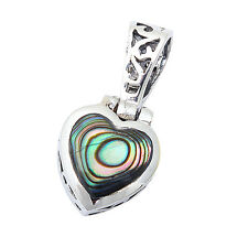 """Abalone Shell Heart Antique Style .925 Sterling Silver Pendant .75"""" long"""