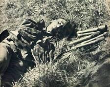 WWII Photo German Soldier Sleeping Next to Grenade  WW2 B&W World War Two / 2225