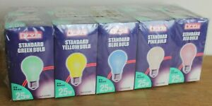 Vintage 10 coloured bulbs 25w ES pink red yellow green blue sealed  screw in end