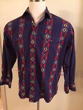 Wrangler Purple Southwestern Snap Shirt Men's L/S Long Sleeve Medium M MC1128M