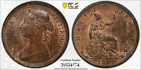 PCGS MS-64 RED-BN GREAT BRITAIN HALFPENNY 1/2 PENNY 1884