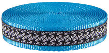 1 Inch Black and White Pinwheels Ribbon on Ice Blue Webbing Closeout, 50 Yards