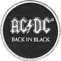 Ac/Dc Back In Black Redondo con Plancha / para Coser Tela Parche (Cv)