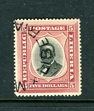 LIBERIA 49, 1892-96 $5 PRES. JOHNSON, USED (LIB026)