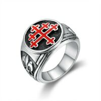 BA0293 Ring Signet ring Man Cross of Lorraine Email Red Fleur-de-Lys Stainless S