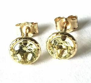 100% Genuine 9ct 9k 375 Yellow Gold NATURAL Citrine Stud Earrings 5mm
