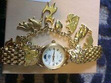 Kirks Folly Cat Charm Bracelet Gold Watch