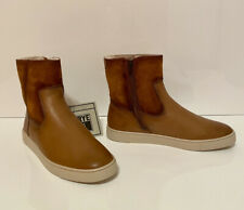 NEW FRYE Gemma Short Shearling Boot Women's 8 Camel Leather Oiled Suede MSRP$248