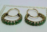 Fine Estate Jewelry 14K Yellow Gold Finish 1.50 CTW Green Emerald Hoop Earrings