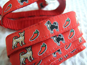 CHIHUAHUA CHILI PEPPER BREED SPECIFIC DESIGN RIBBON DOG COLLAR or LEAD or BELT