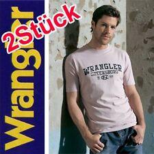 2 Stück WRANGLER T-Shirt NEU Gr.L 52/54 Rosa + Navy Blau Herren Baumwolle
