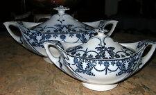 "Vintage T TILL & SONS FLOW BLUE ""VENUS"" Pair of Tureens"
