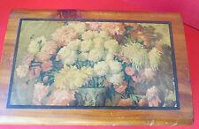 Vintage Small Cedar Trinket Box Chest Chrysanthemum Print On Top