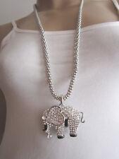 Damen Hals Kette Modekette Bettelkette Lang XL Strass Elefant 3D Optik Silber