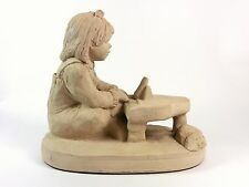 Vintage Austin Productions Bright Eyes Girl Piano Sculpture Signed Dee Crowley