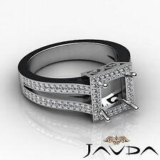Diamond Engagement Princess Ring 18k White Gold Halo Setting Semi Mount 0.9Ct