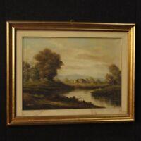 Quadro dipinto firmato su tela italiano paesaggio stile antico cornice 900