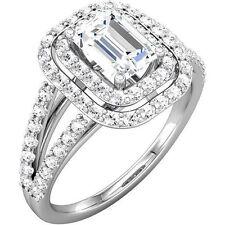 1.2 ct Emerald Cut Diamond Halo Engagement Wedding Ring G SI1 clarity 14k Gold