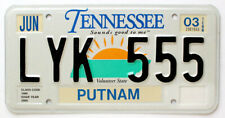 """Tennessee 2003 """"Sounds good to me"""" Sunrise License Plate, LYK 555, Putnam County"""