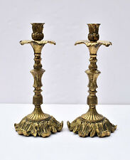 Pair Antique French Gilt Bronze Ormolu Rococo Candle Holders Candlesticks 19th C