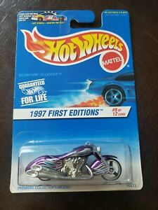 1997 Hot Wheels First Editions #9/12 SCORCHIN SCOOTER Purple #519 New MOMC