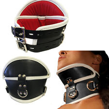 Black Tall PU Leather Buckle Posture Collar Gothic Punk Choker Neck Stretching