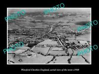 OLD LARGE HISTORIC PHOTO OF WINSFORD CHESHIRE ENGLAND, VIEW OF THE TOWN c1940