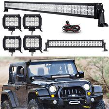 "52Inch LED Light Bar Combo + 22"" +4"" 18W PODS Fit Jeep Wrangler JK YJ TJ CJ LJ"