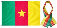 "Wholesale Combo Set Cameroon Country 3x5 3'x5' Flag and 8""x60"" Scarf"