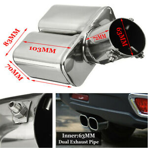 "Universal 63mm/2.5"" Stainless Steel Bent Car Tail Rear Pipe Tip Muffler Cover"