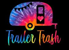 "Trailer Trash in Tie Dye Pattern Printed Decal for Car/Truck/Window 6""x5"""