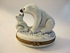 Rochard Limoges France Peint Main Polar Bears Hinged Trinket Box
