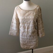 Lillly Pulitzer Tan Cream Tunic Top Blouse Rope Off White Cotton M Medium New
