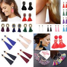 Boho Rhinestone Long Tassel Dangle Earrings Fringe Drop Earrings Jewelry Women