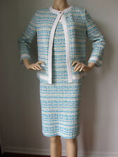 NEW ST JOHN KNIT 4 DRESS & JACKET SUIT TWEED  BR WHITE BLUE TURQUOISE  YELLOW