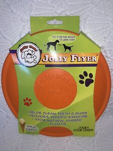 Jolly Flyer Orange Rubber Dog Frisbee Vanilla Scent! Cleans Teeth And Gums