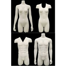 Male and Female Invisible Ghost Mannequin 3/4 Body  - Matte White (Group of 2)