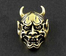 Screwback Brass Japanese Buddhist Evil Oni Noh Hannya Concho For Wallet