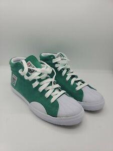 VISION STREET WEAR Green Suede Hi Top Shoes Sneakers Skateboarding Size 10
